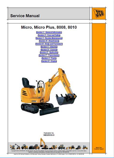 Jcb Micro Plus Excavator Workshop Service Repair Manual