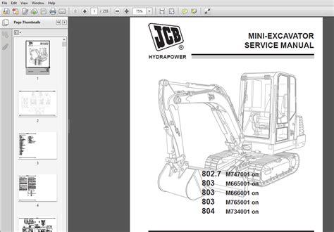 Jcb Mini Excavator 803 804 Engine Workshop Repair Manual