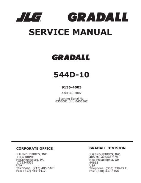 Jlg Gradall Telehandlers 544d 10 Ansi Service Repair Workshop Manual P N9136 4003