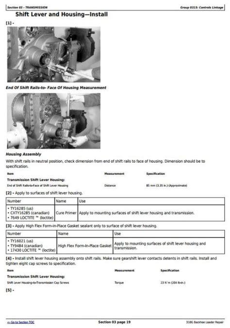 John Deere 310g Repair Manual Tm1886