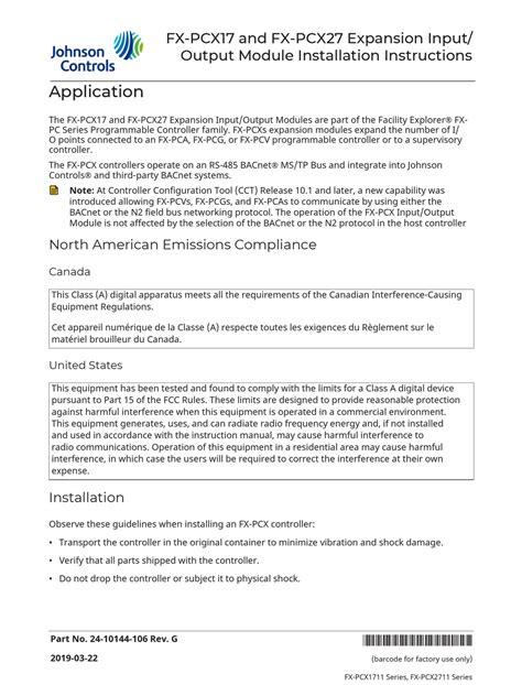 Johnson Controls Fx 15 User Manual