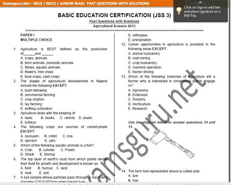 Junior Waec 2014 Real Answers And Questions