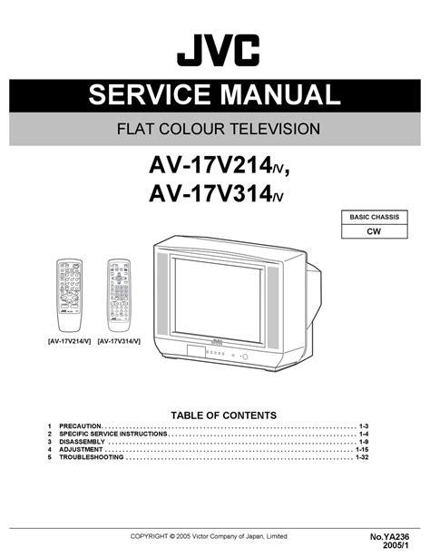 Jvc Av 17v214 Flat Color Tv Service Manual