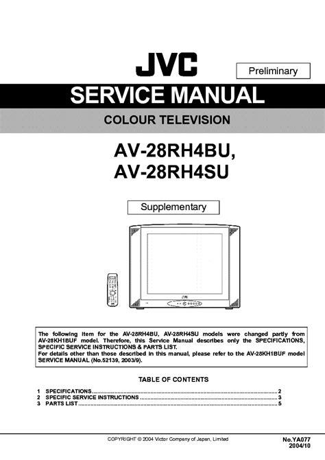 Jvc Av 28rh4bu Colour Television Service Manual