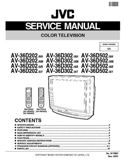 Jvc Av 36d202 Av 36d302 Color Tv Repair Manual