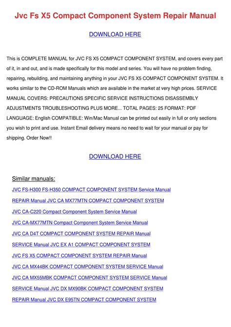 Jvc Fs X5 Compact Component System Repair Manual