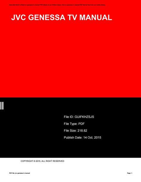 Jvc Genessa Tv Manual