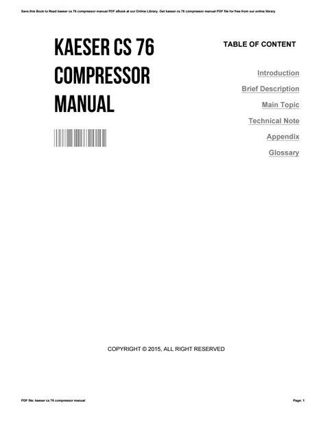 Kaeser Compressors Cs 76 Manual