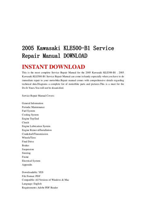 Kawasaki Kle500 B1 2005 Workshop Service Manual For Repair