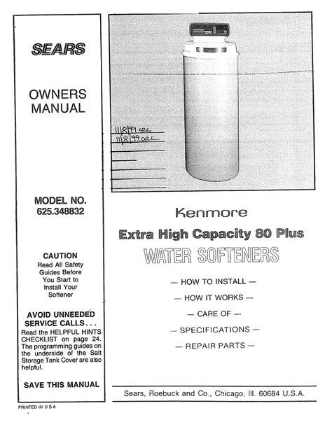 Kenmore Water Softener Manual
