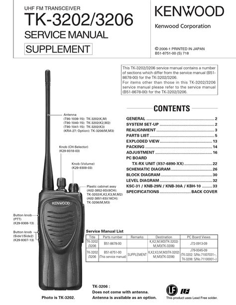 Kenwood Tk 3202 Service Manual