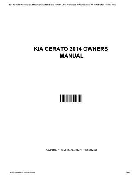 Kia Cerato Owners Manual