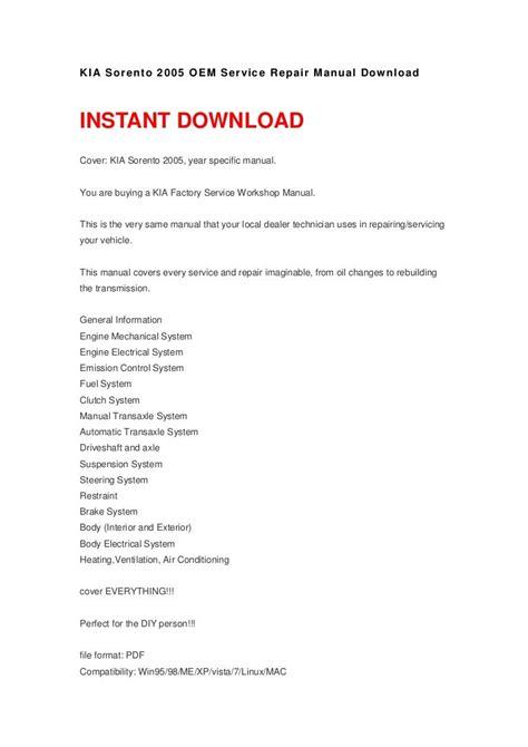Kia Sorento 2005 Oem Service Repair Manual