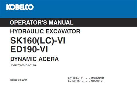 Kobelco 160 Dynamic Acera Parts Manual