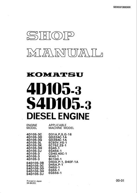 Komatsu 4d105 3 Diesel Engine Service Repair Manual