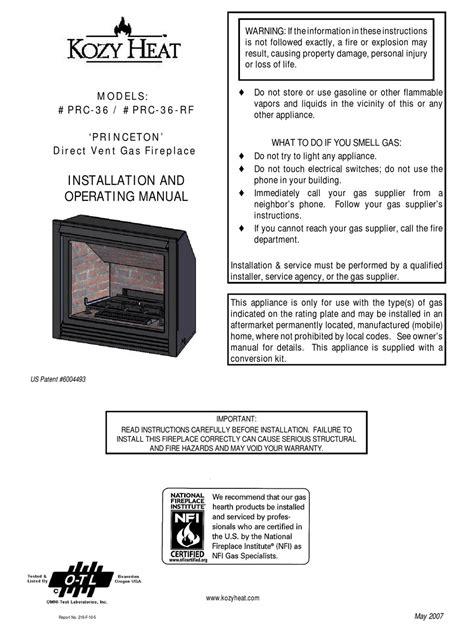 Kozy Heat Princeton Installation Manual
