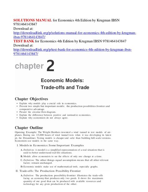 Krugman Economics First Edition Solution Manual