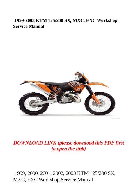 Ktm 125 Exc 1999 2003 Service Repair Workshop Manual