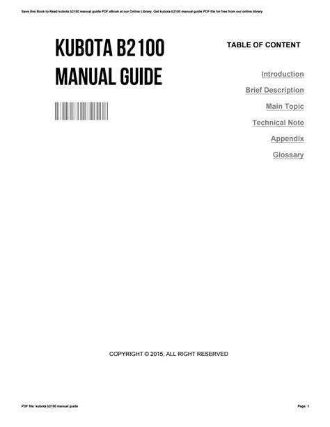 Kubota B2100 Manual Guide
