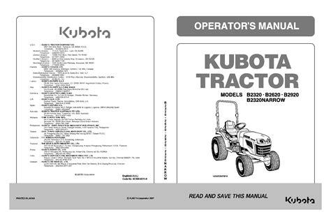 Kubota B2320 Owners Manual