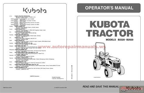 Kubota B2920 Repair Manual