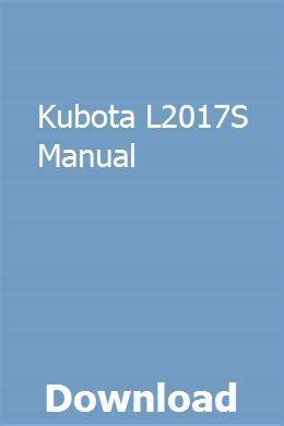 Kubota L2017s Manual