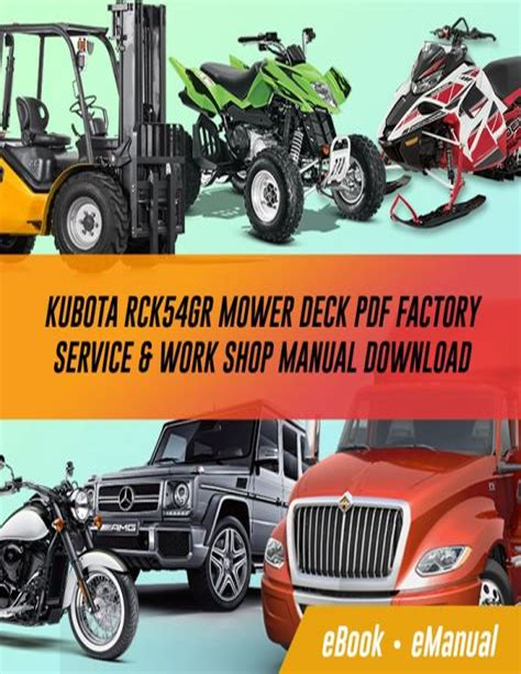 Kubota Rck54gr Mower Deck Factory Service Workshop Manual