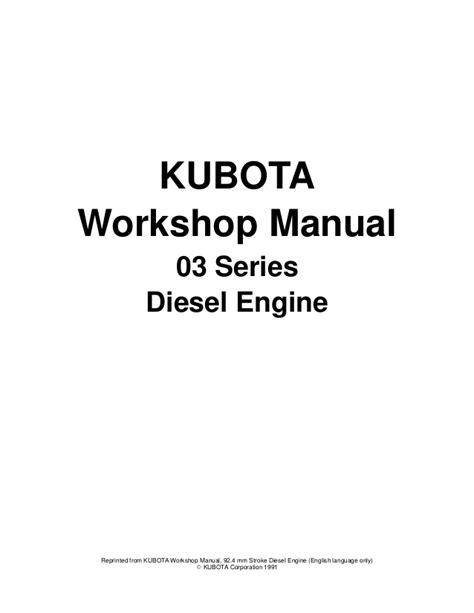 Kubota V1903 B Diesel Engine Factory Service Workshop Manual