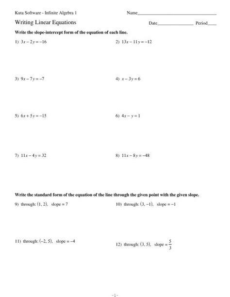 Kuta Software Infinite Algebra 1 Writing Linear Equations Answers