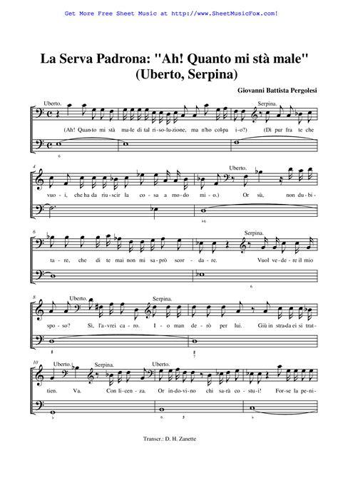 La Serva Padrona Vocal Score