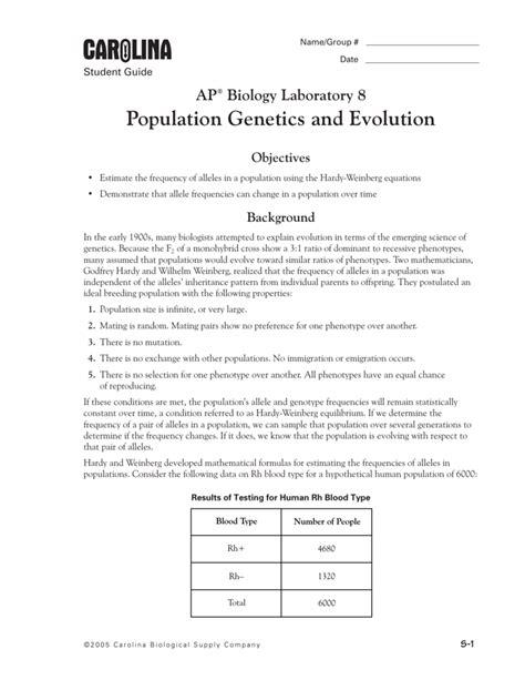 Lab 8 Population Genetics Student Guide