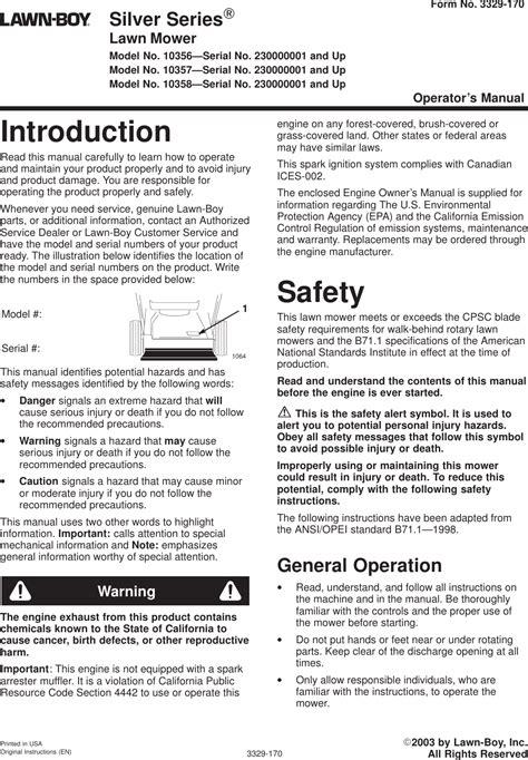 Lawn Boy 10356 Service Manual