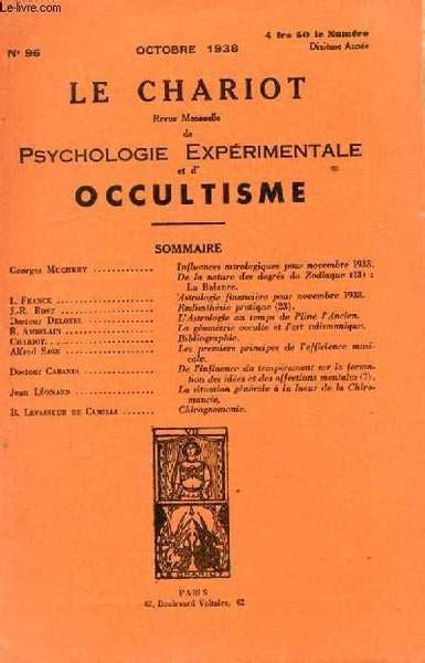 Le Chariot Revue Mensuelle Psychologie Experimentale Et D Occultisme N96 Influences Astrologiques Pour Novembre