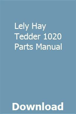 Lely Hay Tedder 1020 Parts Manual