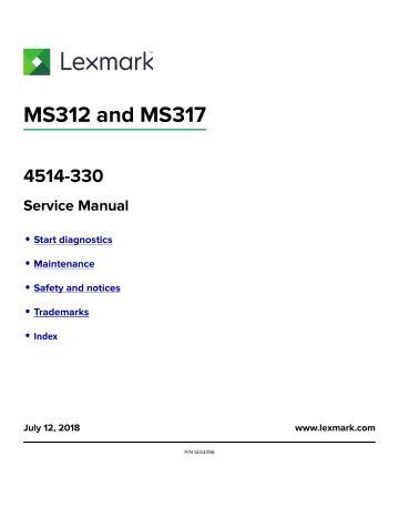 Lexmark Ms312 Service Manual Parts List