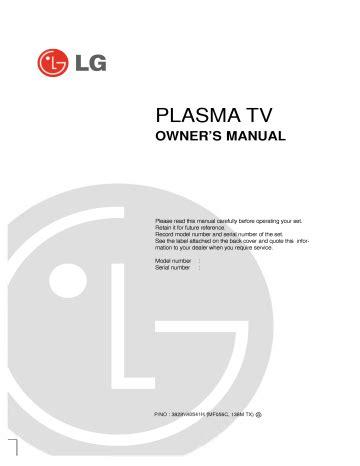 Lg 42px3rva 42px3rva Zc Plasma Tv Service Manual