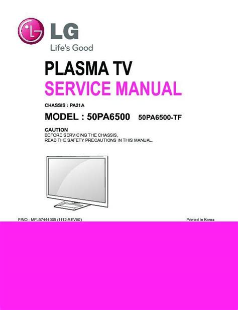 Lg 50pa6500 50pa6500 Sa Plasma Tv Service Manual