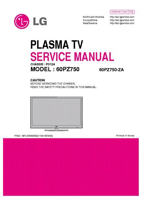 Lg 60pz750 60pz750 Za Plasma Tv Service Manual