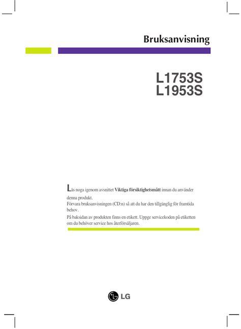 Lg L1753s L1953s Monitor Service Manual