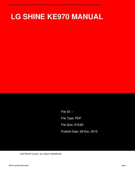 Lg Shine Owners Manual