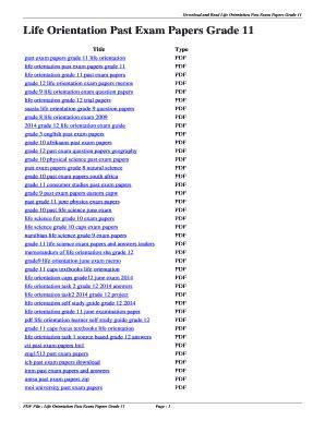 Life Orientation Memo Exam Paper Grade 11