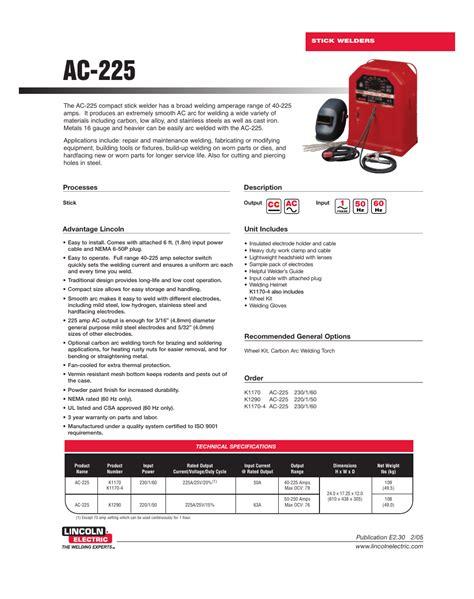 Lincoln Ac 225 Arc Welder Manual