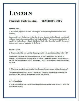 Lincoln Movie Guide Questions Answes