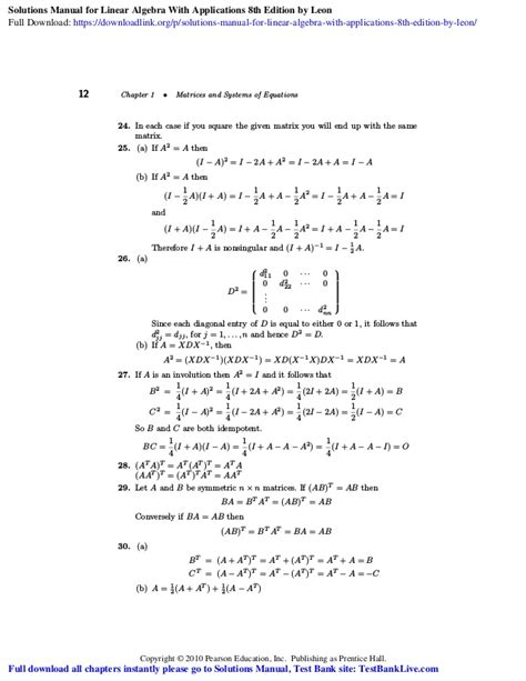 Linear Algebra With Applications 8th Edition Leon Solution Manual