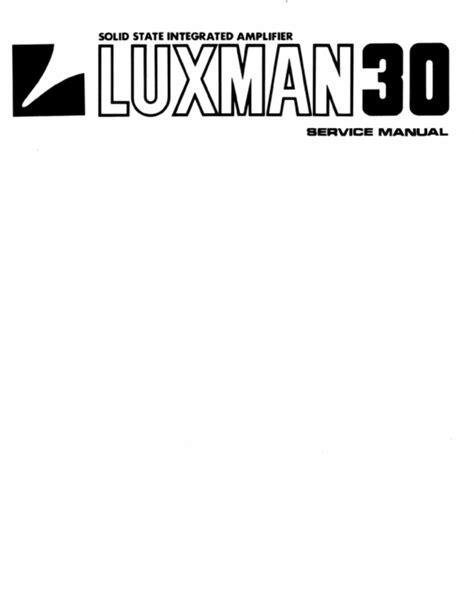 Luxman L 30 Amplifier Service Repair Manual