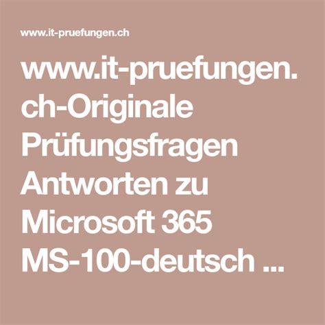 MS-100 Deutsche Prüfungsfragen