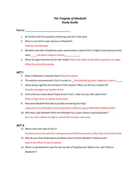 Macbeth Study Guide Act 2 Answers