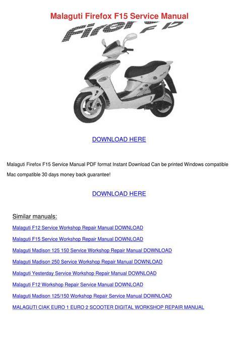 Malaguti F15 Firefox Scooter Workshop Manual Repair Manual Service Manual
