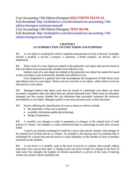 Management Accounting Horngren Solutions Manual 15th Edition