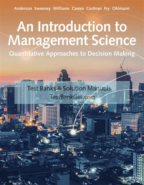 Management Science Sweeney Solutions Manual